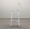 French T Back Barstool Polished Chrome