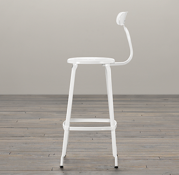 French T Back Barstool White