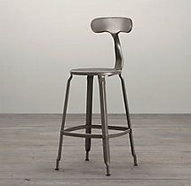French T Back Counter Stool Gun Metal
