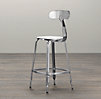 French T Back Counter Stool Polished Chrome