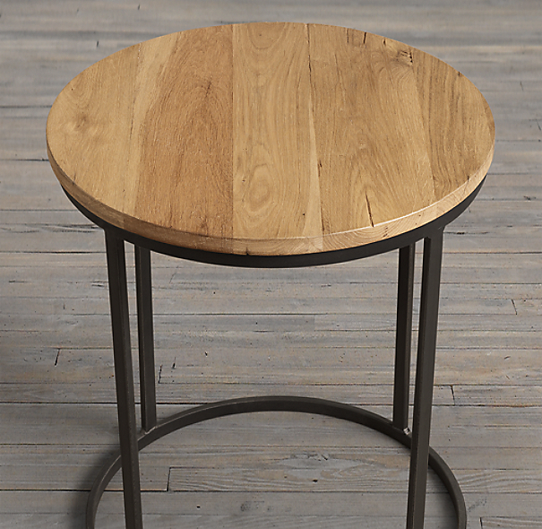 "19"" Watts Reclaimed Oak Round Side Table"