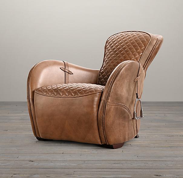 Leather saddle armchair