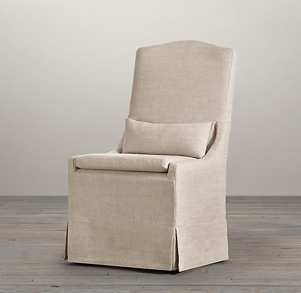 belgian camelback slipcovered side chair