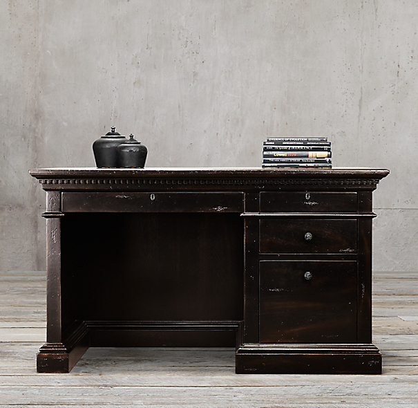 "55"" St. James Desk Antiqued Ebony"