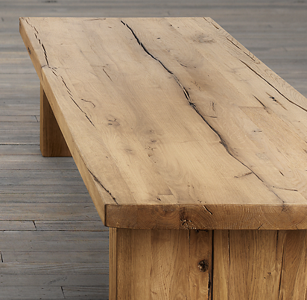 "68"" Reclaimed Russian Oak Plank Coffee Table"