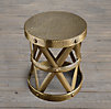 Spanish Colonial Drum Table Antique Brass (Set of 2)