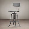 Vintage Toledo Bar Chair Grey Enamel