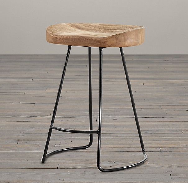 Counter Stools Restoration Hardware: 1950s Oak Tractor Seat Stool