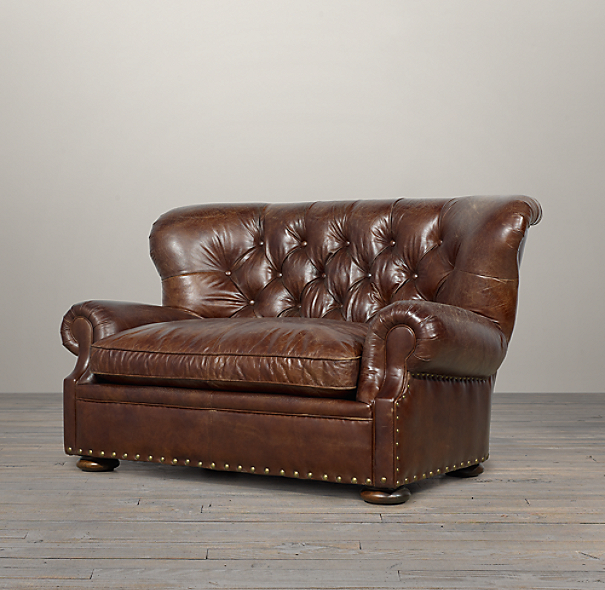 5 39 churchill leather sofa with nailheads for Restoration hardware churchill sofa
