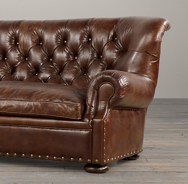 Churchill Leather Sofas with Nailheads