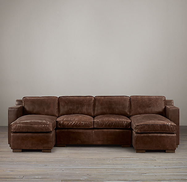 Collins Leather U-Chaise Sectional
