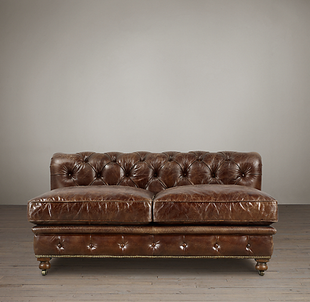 "60"" Kensington Leather Armless Sofa"