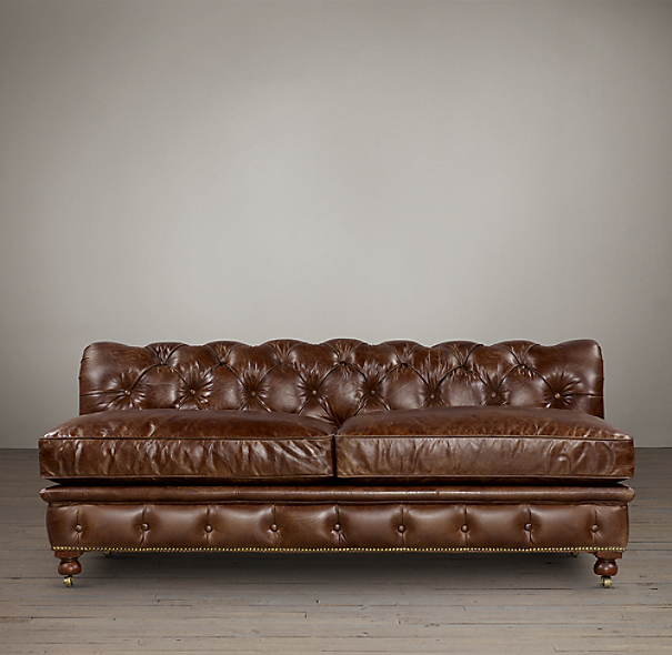 Kensington Leather Armless Sofas