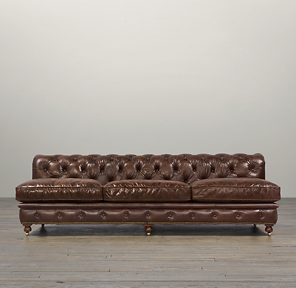 "120"" Kensington Leather Armless Sofa"