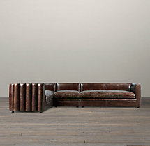 Maxime Leather Left-Arm L-Sectional