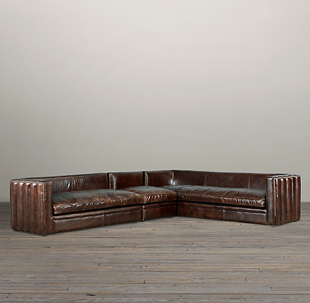 Maxime Leather Right-Arm L-Sectional