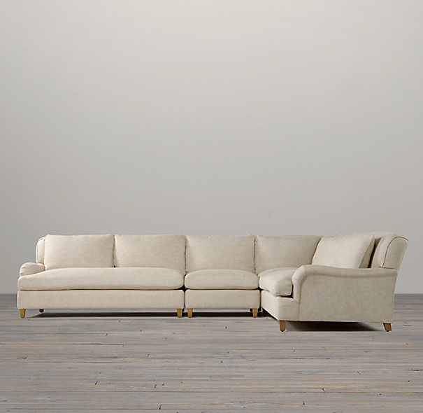 Belgian Classic Roll Arm Upholstered Right-Arm L-Sectional