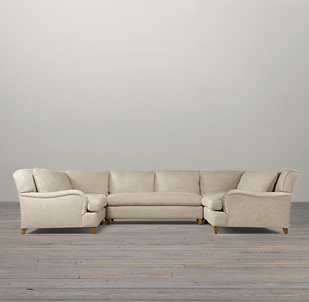 Belgian Classic Roll Arm Upholstered U-Sofa Sectional