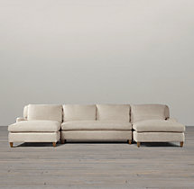 Belgian Classic Roll Arm Upholstered U-Chaise Sectional
