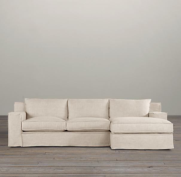 capri slipcovered right arm sofa chaise sectional
