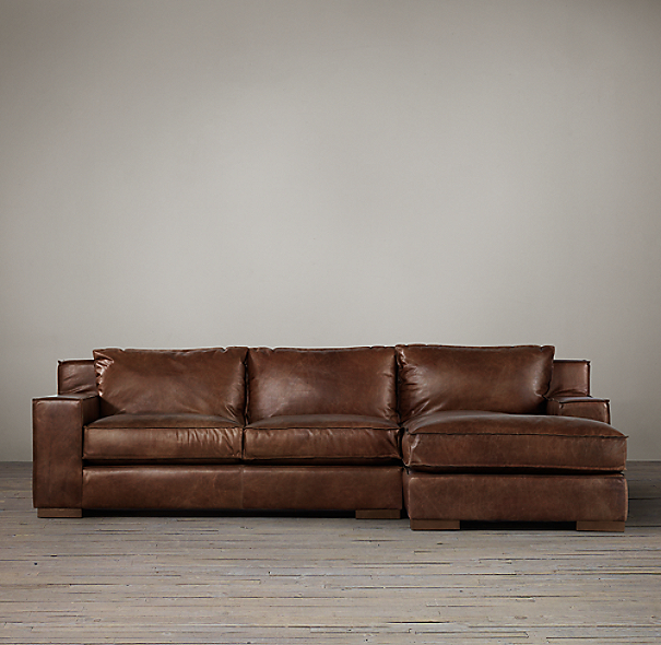 Capri Leather Right-Arm Sofa Chaise Sectional
