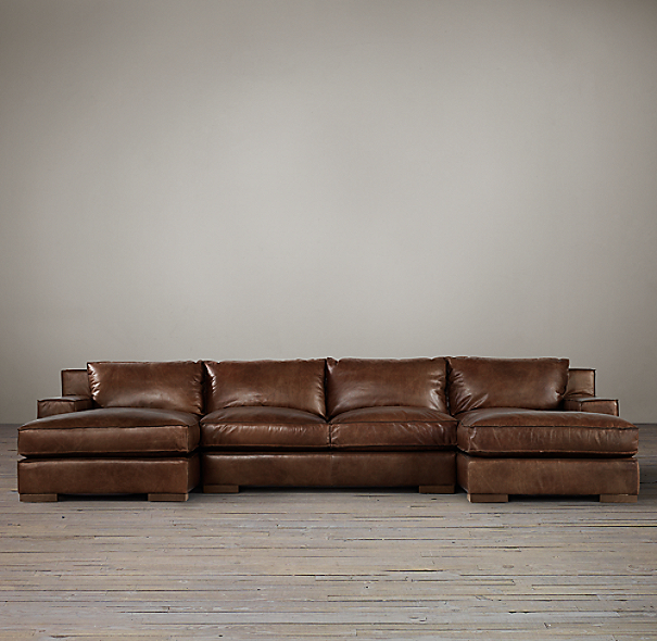 Capri Leather U-Chaise Sectional
