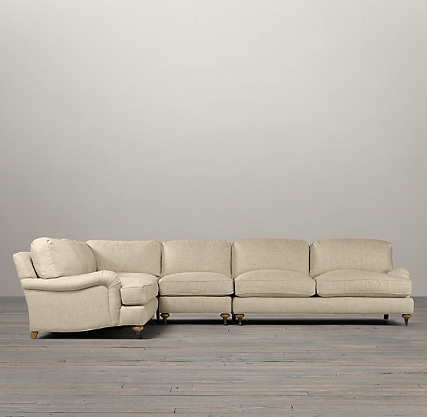 English Roll Arm Upholstered L-Sectional