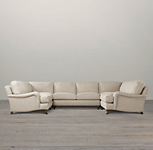 English Roll Arm Upholstered U-Sofa Sectional