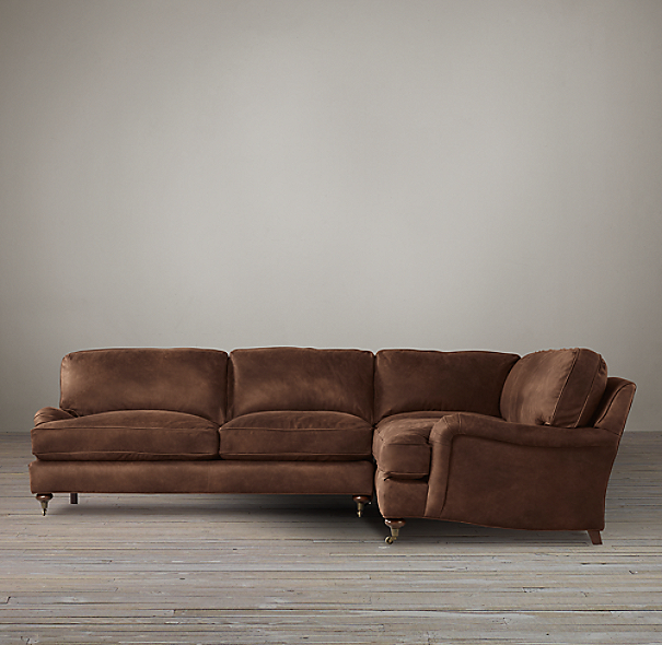English Roll Arm Leather Corner Sectional