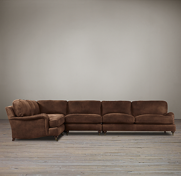 English Roll Arm Leather L-Sectional
