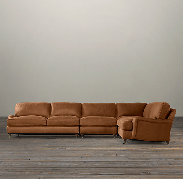 English Roll Arm Leather Right-Arm L-Sectional