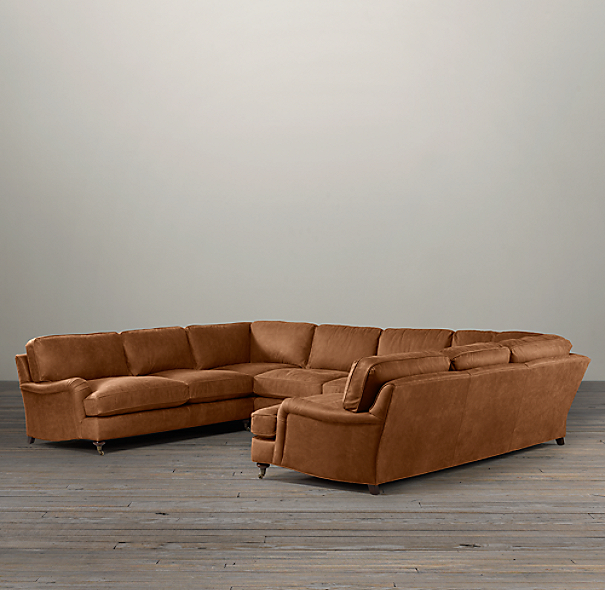 English Roll Arm Leather U-Sofa Sectional