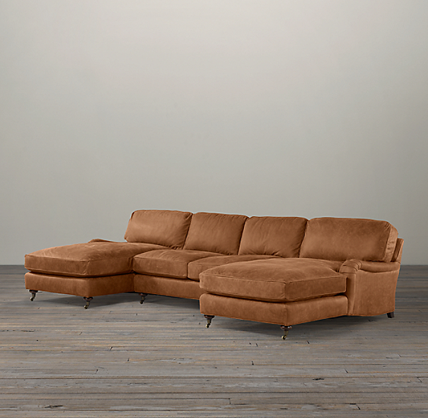 English Roll Arm Leather U-Chaise Sectional
