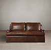 6' Belgian Classic Roll Arm Leather Sofa
