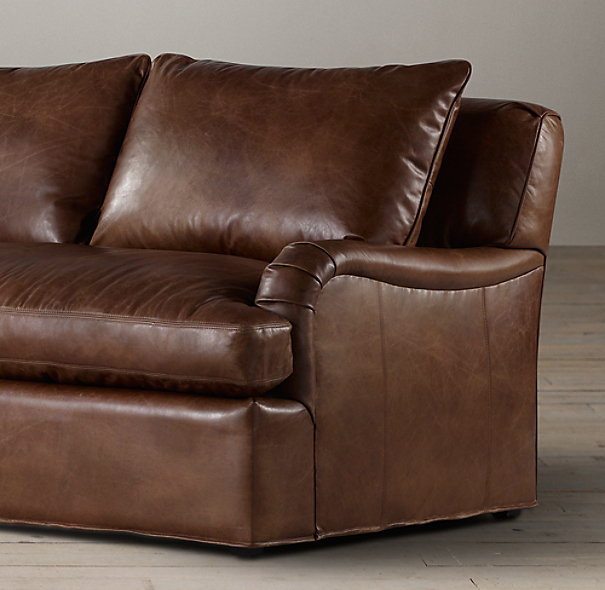 8' Belgian Classic Roll Arm Leather Sofa