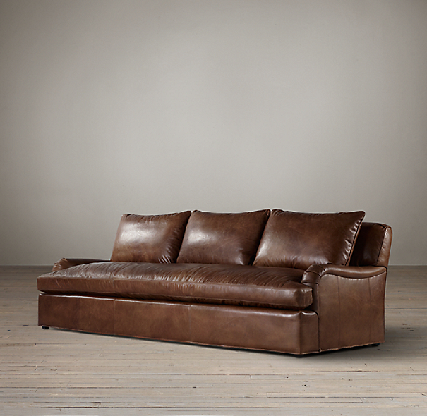 9' Belgian Classic Roll Arm Leather Sofa