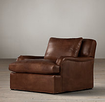 Belgian Classic Roll Arm Leather Swivel Chair