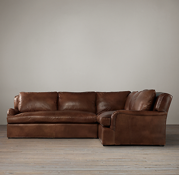 Belgian Classic Roll Arm Leather Corner Sectional