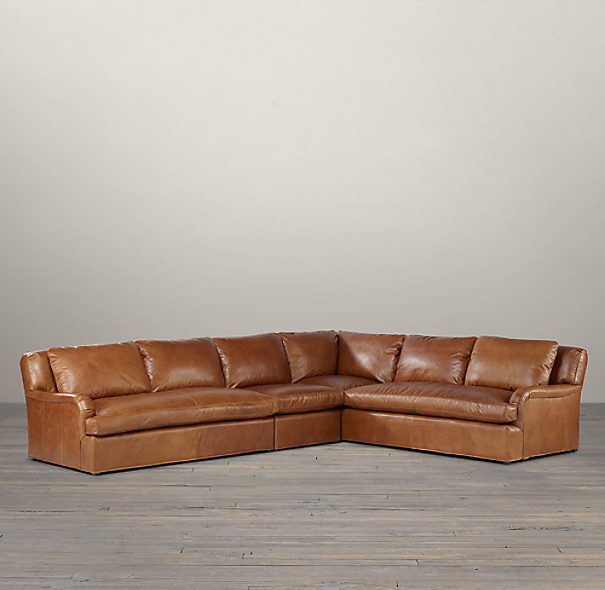 Belgian Classic Roll Arm Leather Right-Arm L-Sectional