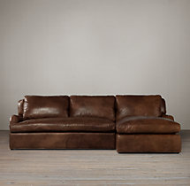 Belgian Classic Roll Arm Leather Right-Arm Sofa Chaise Sectional