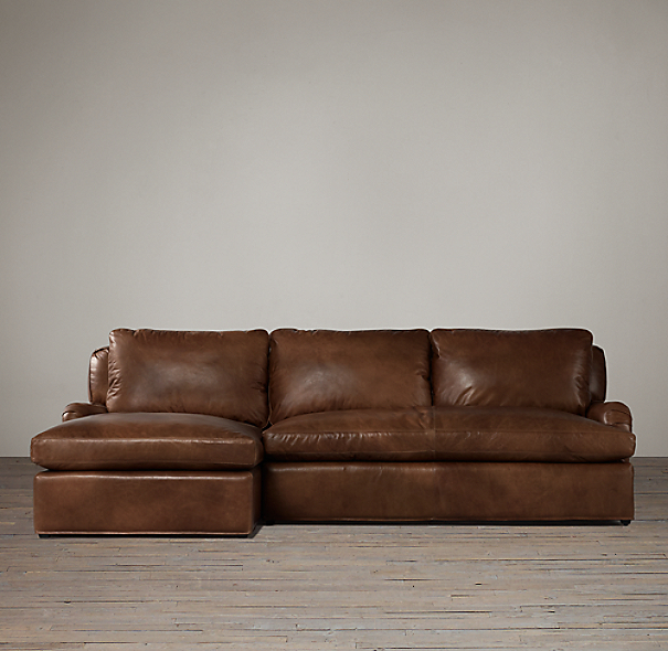 Belgian Classic Roll Arm Leather Left-Arm Sofa Chaise Sectional