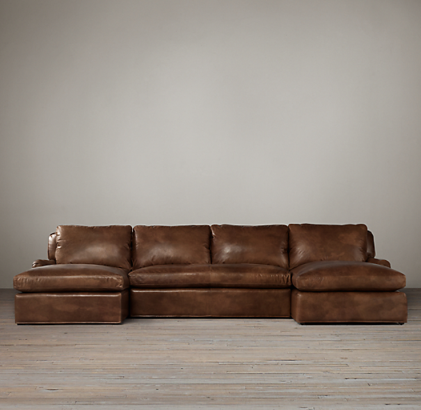 Belgian Classic Roll Arm Leather U-Chaise Sectional