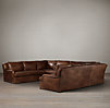 Belgian Classic Roll Arm Leather U-Sofa Sectional