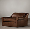 5' Belgian Roll Arm Leather Sofa