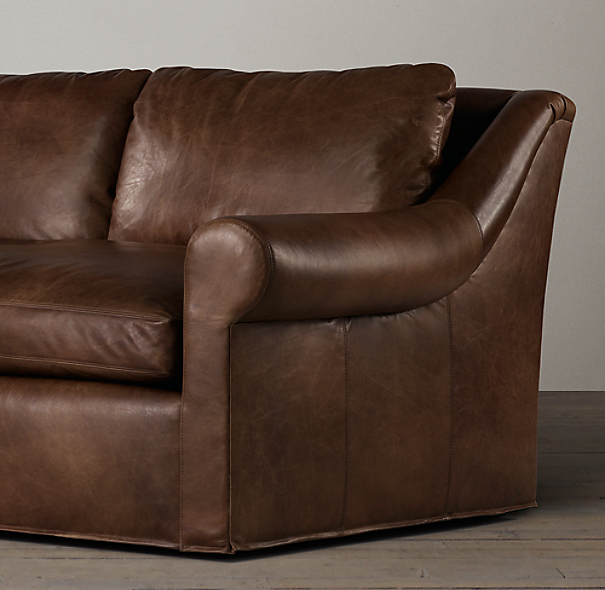 8' Belgian Roll Arm Leather Sofa