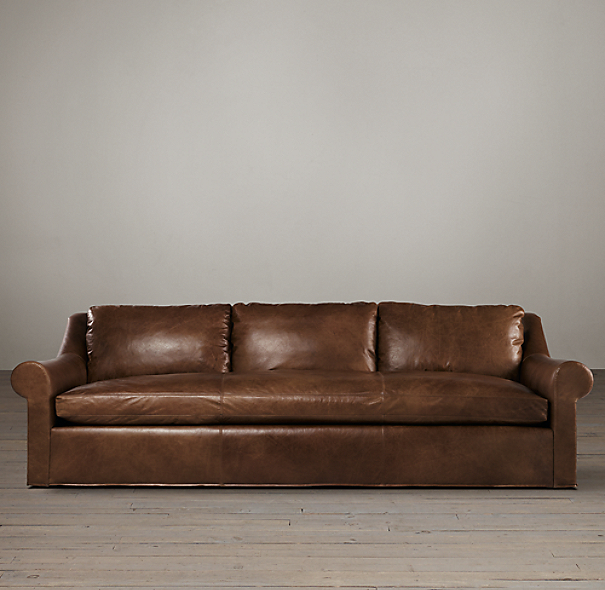 9' Belgian Roll Arm Leather Sofa