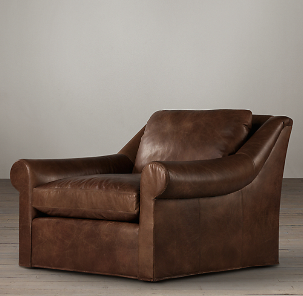 Belgian Roll Arm Leather Swivel Chair