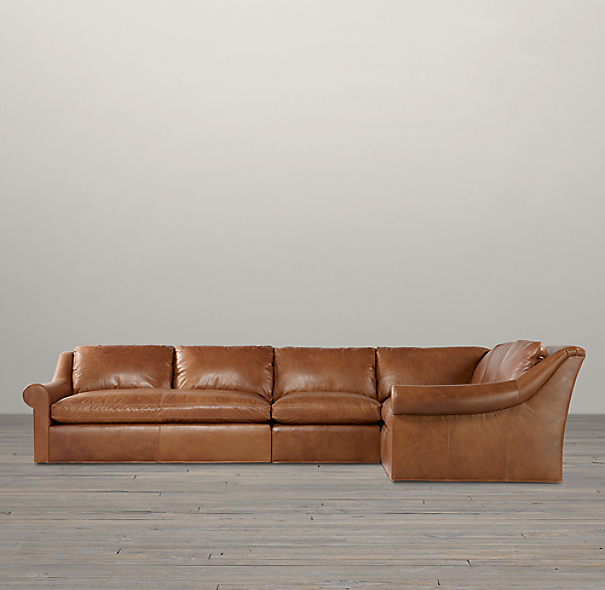 Belgian Roll Arm Leather Right-Arm L-Sectional