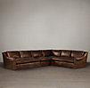 Belgian Roll Arm Leather L-Sectional