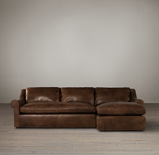 Belgian Roll Arm Leather Right-Arm Sofa Chaise Sectional